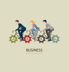 businessman riding bicycle with gears vector image vector image