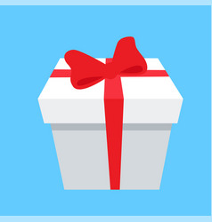 gift box icon red bow and ribbon isolated on blue vector image vector image