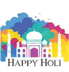 happy holi taj mahal with abstract traditional vector image