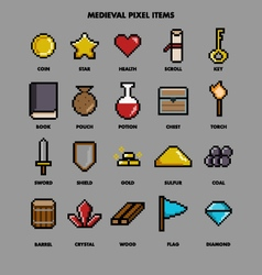 medieval pixel items vector image