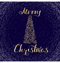 Merry Christmas Snow and Tree vector image vector image