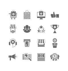 Shopping flat black icons set sihlouette vector image