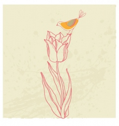 bird on flower card vector image vector image