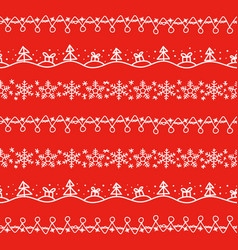 different doodle christmas decor seamless vector image