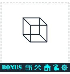 Geometric cube icon flat vector image