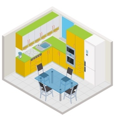 isometric kitchen interior vector image vector image