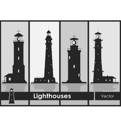Lighthouses Set of silhouettes of large vector image