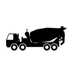 Silhouette of a concrete mixer vector