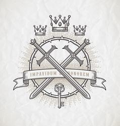 Abstract heraldic line art emblem vector image vector image