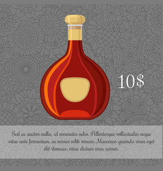 brandy alcoholic beverage card template vector image vector image