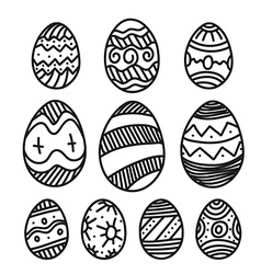 Easter eggs collection isolated on white vector image vector image