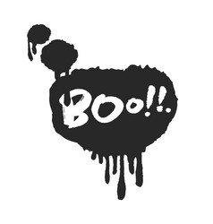 hand written boo in speech bubble vector image
