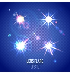Highly detailed lens flares set vector image vector image