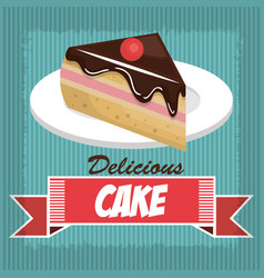 icon delicious cake dessert isolated vector image vector image