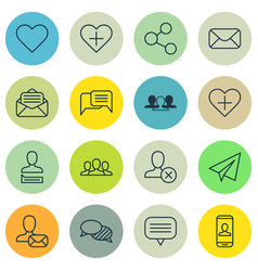 set of 16 social icons includes read message vector image vector image