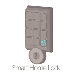 Smart home lock icon cartoon style vector