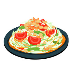 spicy popular papaya thai salad vector image