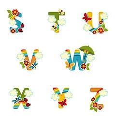 Alphabet rainbow from s to z vector