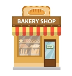 Bakery shop Baking store building icon Bread vector image