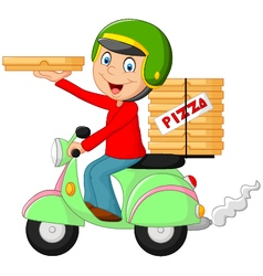 Cartoon pizza delivery boy riding motor bike vector image