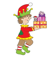 Elf with Present vector image vector image