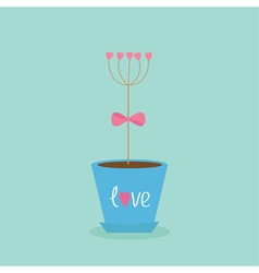 Flower tree stick with hearts in the pot Pink bow vector image vector image