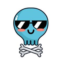 kawaii cute tender skull with bones vector image vector image
