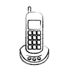 monochrome blurred silhouette of cordless phone vector image vector image
