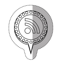 monochrome sticker with wifi icon and circular vector image vector image