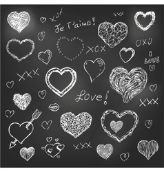 Set of hand drawn hearts on chalkboard background vector image