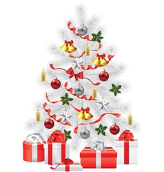 white fir tree decorations gifts vector image vector image