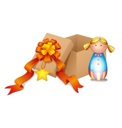 A baby doll with a box vector
