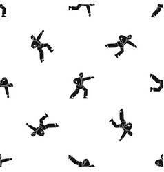 aikido fighter pattern seamless black vector image
