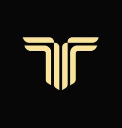 alphabet letter t monogram logo vector image