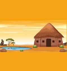An african hut in desert vector