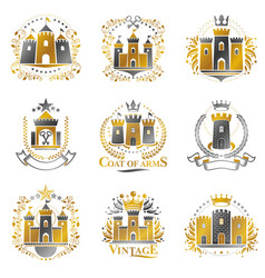 Ancient citadels emblems set heraldic design vector