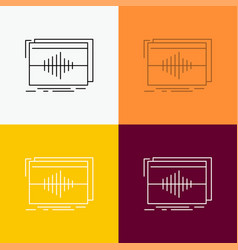 Audio frequency hertz sequence wave icon over vector