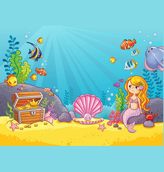 background with an underwater world vector image