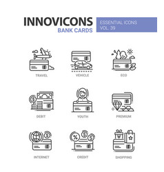 bank cards - modern line design icons set vector image