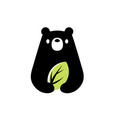 Bear leaf natural negative space logo icon vector