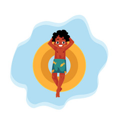 Black african american boy teenager swimming on vector
