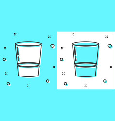black line glass with water icon isolated on green vector image