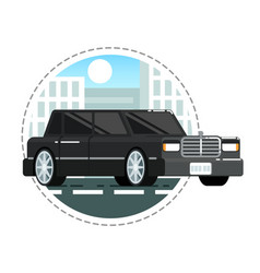 black luxury limo car icon vector image