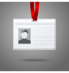 Blank horizontal badge holder with place for photo vector image