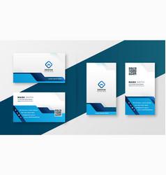 blue geometric business card modern design vector image