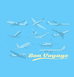 Bon voyage set aircraft air transport vector