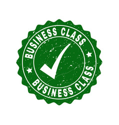 business class scratched stamp with tick vector image