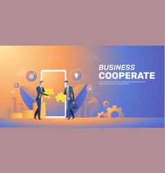 businessman cooperate startup team banner layout vector image