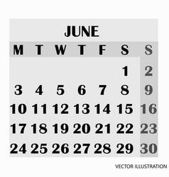 calendar design month june 2019 vector image