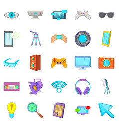 Camera for films icons set cartoon style vector